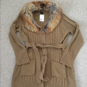 H&M Woman Cardigan w/ Faux Fur Collar (Brown)